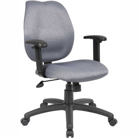Boss Task Chair with Adjustable Arms - Fabric - Mid Back - Gray