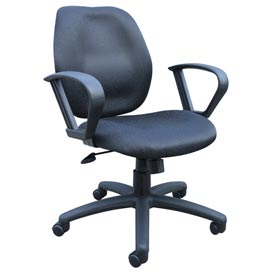 Boss Task Chair with Fixed Arms - Fabric - Mid Back - Black