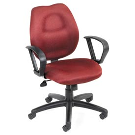 Boss Task Chair with Fixed Arms - Fabric - Mid Back - Blue