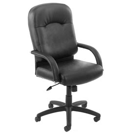 Boss Executive Office Chair with Arms and Knee Tilt - Vinyl - High Back - Black