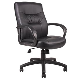 Boss Executive Office Chair with Arms and Knee Tilt - Leather - Mid Back - Black