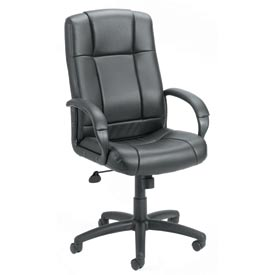 Boss Office Chair with Arms - Vinyl - High Back - Black
