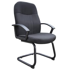 Boss Reception Guest Chair with Arms - Fabric - Mid Back - Black