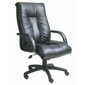 Boss Executive Office Chair with Arms and Knee Tilt - Italian Leather - High Back - Black