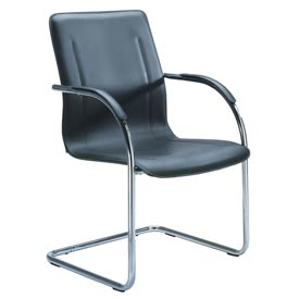 Boss Reception Guest Chair with Arms - Vinyl - Black - Pack of 4