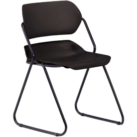OFM Stacking Chair - Plastic - Mid Back - Black Seat with Black Frame - Pkg Qty 4