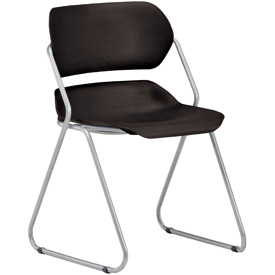 OFM Stacking Chair - Plastic - Mid Back - Black Seat with Silver Frame - Pkg Qty 4