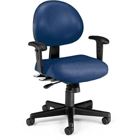 OFM Antimicrobial 24 Hour Task Chair with Arms - Vinyl - Mid Back - Navy