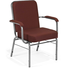 OFM Big and Tall Guest Chair with Arms - Fabric - Mid Back - Pinpoint Wine