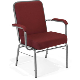 OFM Big and Tall Guest Chair with Arms - Fabric - Mid Back - Wine