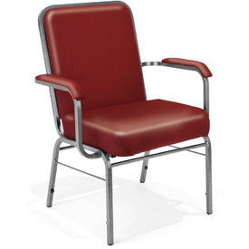 OFM Antimicrobial Big and Tall Guest Chair with Arms - Vinyl - Mid Back - Wine