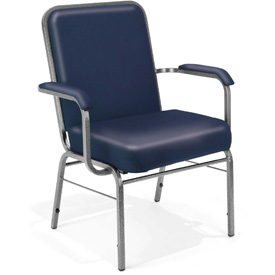 OFM Antimicrobial Big and Tall Guest Chair with Arms - Vinyl - Mid Back - Navy