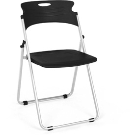 OFM Plastic Folding Chairs - Black - Pkg Qty 4
