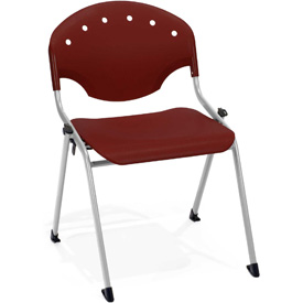 OFM Stacking Chair - Plastic - Burgundy - Pkg Qty 4