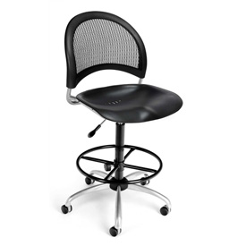 OFM Moon Series Swivel Armless Task Chair with Drafting Kit, Plastic, Mid Back, Black