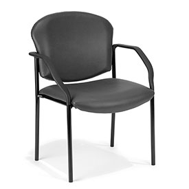 OFM Antimicrobial Guest Chair with Arms - Vinyl - Mid Back - Charcoal - Manor Series