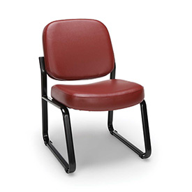 OFM Antimicrobial Reception Guest Chair - Vinyl - Mid Back - Wine