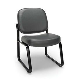 OFM Antimicrobial Reception Guest Chair - Vinyl - Mid Back - Charcoal