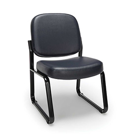 Vinyl Armless Guest/Reception Chair - Navy