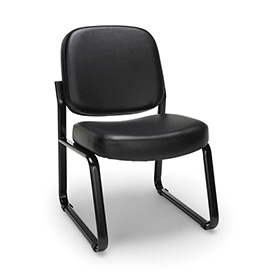 OFM Antimicrobial Reception Guest Chair - Vinyl - Mid Back - Black