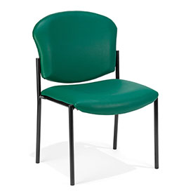 Anti-Microbial Vinyl Upholstered Armless Stacking Chair - Teal