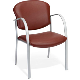Contract Vinyl Upholstered Arm Chair - Wine