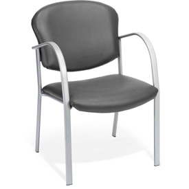 OFM Danbelle Series Contract Reception Chair, Anti-Microbial/Anti-Bacterial Vinyl, Charcoal