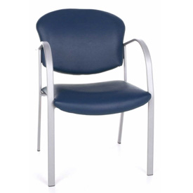 Contract Vinyl Upholstered Arm Chair - Navy