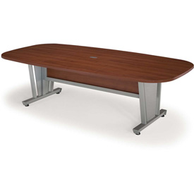 """OFM Modular Conference Table 48""""Dx94-1/2""""W - Cherry & Silver"""