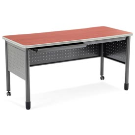 "OFM Mesa Series Steel Training Table and Desk with Pencil Drawers, 27.75"" x 59"", Cherry Finish"
