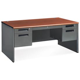 "OFM Steel with with Drawer - Double Pedestal - 30""D x 60""W - Cherry - Executive Series"