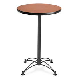 "OFM Round Cafe Bar Table 24"" - Cherry w/ Black Base"