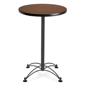 "Round Black Base Cafe Table 24"" - Mahogany"