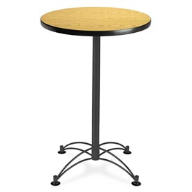 "OFM Round Cafe Bar Table 24"" - Oak w/ Black Base"