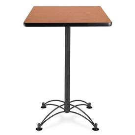"OFM Square Cafe Bar Table - 24"" - Cherry with Black Base"