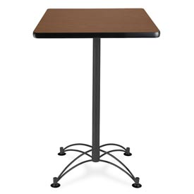 "Square Black Base Cafe Table 24"" - Mahogany"