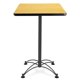 "Square Black Base Cafe Table 24"" - Oak"