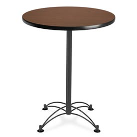 "OFM Round Cafe Bar Table 30"" - Mahogany w/ Black Base"