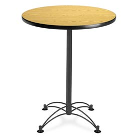 "OFM Round Cafe Bar Table 30"" - Oak w/ Black Base"