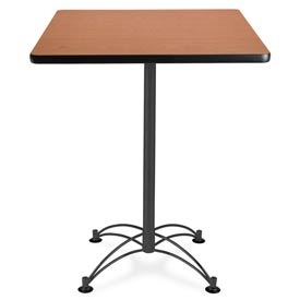 "OFM Square Cafe Bar Table - 30"" - Cherry with Black Base"