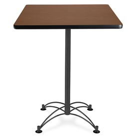 "Square Black Base Cafe Table 30"" - Mahogany"