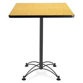 "Square Black Base Cafe Table 30"" - Oak"