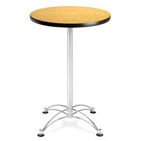 "OFM Round Cafe Bar Table 24"" - Oak w/ Chrome Base"