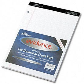 Evidence® Canary Dual Pad w/Narrow Rule, 8-1/2 x 11-3/4, 100 Sheets