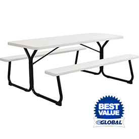 Plastic and Recycled Plastic Picnic Table With Steel Frame - Rectangular, Round, Square & Hexagon
