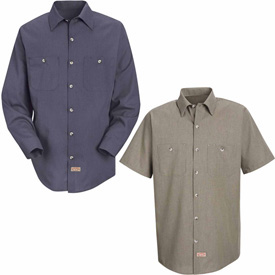 Red Kap® Geometric Micro-Check Work Shirts