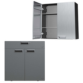 Hercke Stainless Steel Wall Mounted and Counter Height Storage Cabinets