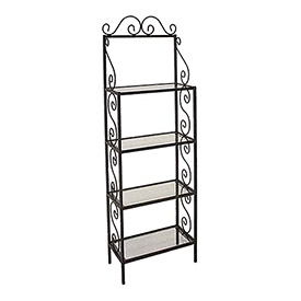 Bakers Racks-Wood & Glass Shelves