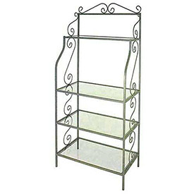 Graduated Bakers Racks-Wood & Glass Shelves