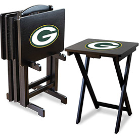 TV Snack Tray Tables with Storage Rack - NFL Logos